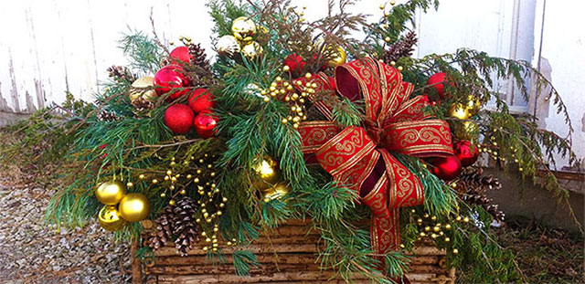 Deck the halls with a one-of-a-kind greenery basket or juniper centerpiece!
